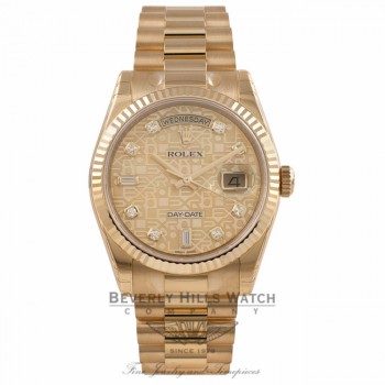 Rolex Day-Date President 36MM 18k Yellow Gold Fluted Bezel Yellow Mother of Pearl Jubilee Diamond Dial President Bracelet 118238 5EHWCT - Beverly Hills Watch Company Watch Store
