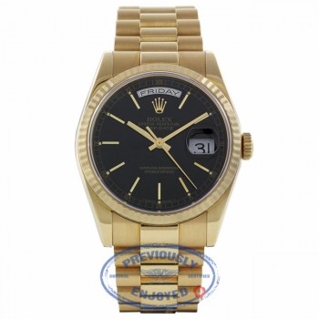 Rolex Day-Date President 36mm 18k Yellow Gold Fluted Bezel Black Dial 118208 0Y0FH3