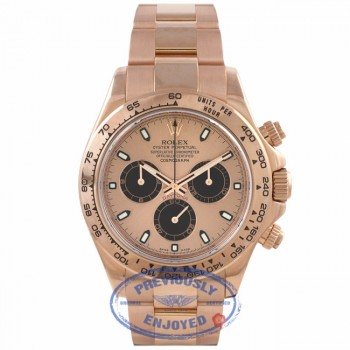 Rolex Daytona Everose Gold 40mm Oyster Bracelet Rose Dial Black Sub Dials Chronograph Watch 116505 1XRDEW - Beverly Hills Watch Company Watch Store