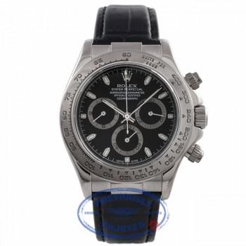 Rolex Daytona 40MM White Gold Black Dial Black Alligator Strap 116519 QN58JK - Beverly Hills Watch Company Watch Store