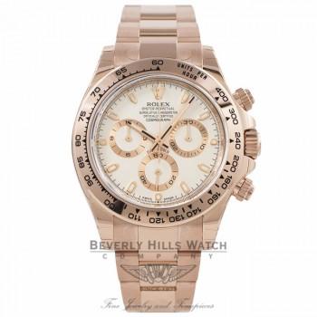 Rolex Daytona Everose Gold 40mm Oyster Bracelet Ivory Dial Chronograph Watch 116505 XMKQCF - Beverly Hills Watch Store