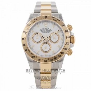Rolex Daytona Yellow Gold Stainless Steel White Dial 116523 19JKF6 - Beverly Hills Watch Company Watch Store