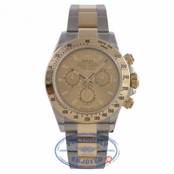 Rolex Daytona 40mm 18k Yellow Gold Stainless Steel Champagne Dial Oyster Bracelet  116523  F18R3Z - Beverly Hills Watch Company