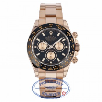 Rolex Daytona 40mm Rose Gold Oyster Bracelet Black Dial Pink Champagne Sub-dials 116505 1A093W - Beverly Hills Watch Company