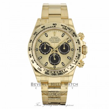 """Rolex Oyster Perpetual Cosmograph Daytona """"Paul Newman"""" 2017 Yellow Champagne Dial Black Sub-dials 116508 NJFK6J - Beverly Hills Watch"""