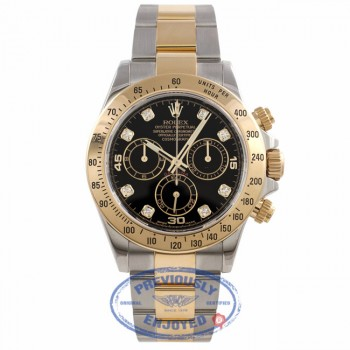 Rolex Daytona Stainless Steel and Yellow Gold Oyster Bracelet Black Diamond Dial 116523 AEAVL4 - Beverly Hills Watch Company Watch Store