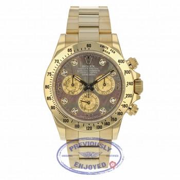 Rolex Daytona 40MM Yellow Gold Dark Mother of Pearl Diamond Dial 116528 RRZ356