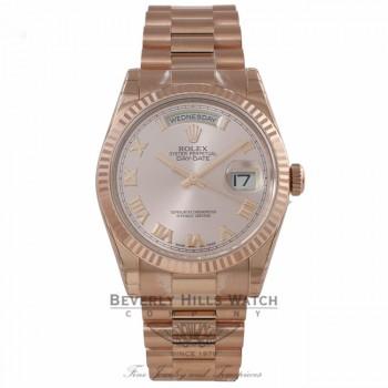 Rolex Day-Date President 36mm Everose Pink Roman Dial Fluted Bezel President Bracelet 118235 DLA7T2 - Beverly Hills Watch Company Watch Store