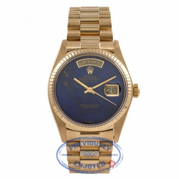 Rolex Day-Date President 18k Yellow Gold 36MM Blue Lapis Dial 18038 QE1HE9 - Beverly Hills Watch Store