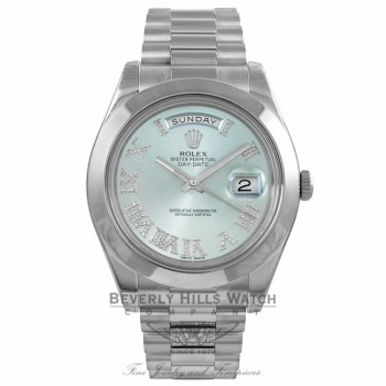 Rolex Day-Date II President 41MM Platinum Ice Blue Roman Diamond Dial 218206 7JR5WE - Beverly Hills Watch Company Watch Store