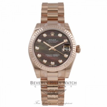 Rolex Datejust 31mm 18k Rose Gold President Bracelet Fluted Bezel Black Mother of Pearl Diamond Dial 178275 J45JUU - Beverly Hills Watch Company