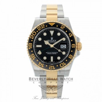 Rolex GMT MASTER II Steel and Gold Ceramic Bezel Watch 116713 - Beverly Hills Watch Company