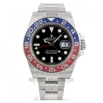 Rolex GMT Master II 18k White Gold Pepsi Red/ Blue Ceramic Bezel Black Dial 116719 UZMRC7 - Beverly Hills Watch Company Watch Store