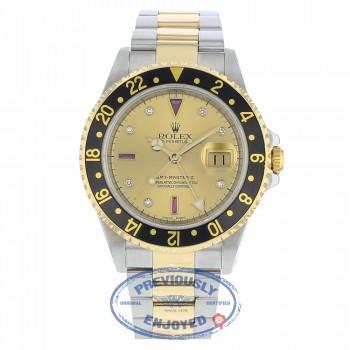 "Rolex GMT-Master II Stainless Steel 18k Yellow Gold ""Serti"" Diamonds & Rubies Champagne Dial 16713 C0KQUN - Beverly Hills Watch"