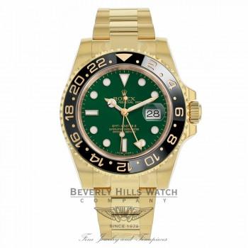Rolex GMT Master II 18K Yellow Gold Green Dial Black Ceramic Bezel 116718LN KAD0ZC - Beverly Hills Watch Company