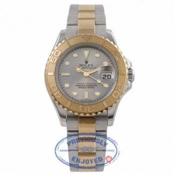 Yachtmaster Ladies 18k Yellow Gold Stainless Steel Rhodium Grey Dial on Bracelet 169623 9U412C - Beverly Hills Watch Company Watch Store