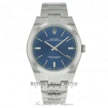 Rolex Oyster Perpetual 39mm Stainless Steel Blue Dial Index Markings Bracelet 114300 LX80NN - Beverly Hills Watch Company