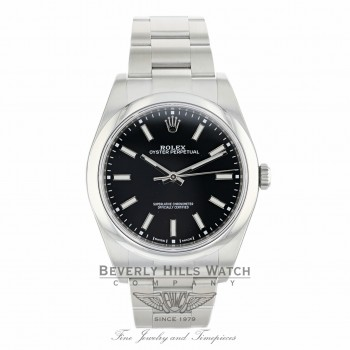 Rolex Oyster Perpetual 39mm Stainless Steel Black Dial Index 114300 2XE776