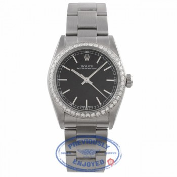 Rolex Stainless Steel Oyster Perpetual 34MM Black Dial Diamond Bezel 77080 - RU854M - Beverly Hills Watch Company Watch Store