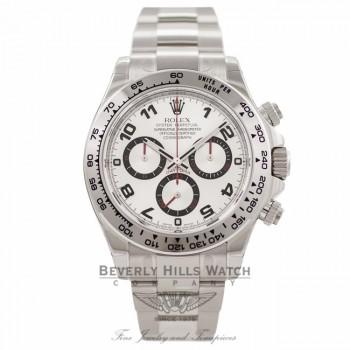 Rolex Daytona Chronograph 18K White Gold Oyster Bracelet Silver Arabic Dial Watch 116509 - Beverly Hills Watch Company Watch Store