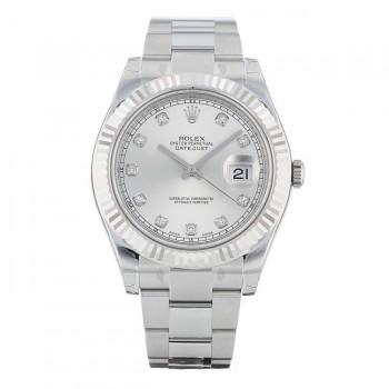 Rolex Datejust II 41MM 18k White Gold Fluted Bezel Silver Diamond Dial 116334 SDO 0WR1MA - Beverly Hills Watch
