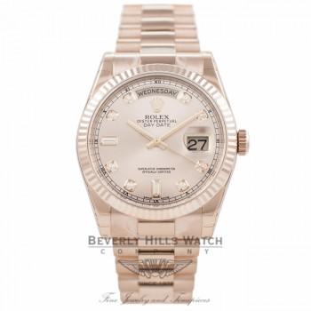 Rolex Day-Date President Everose 36MM Pink Champange Diamond Dial 118235 - Beverly Hills Watch Company Watch Store