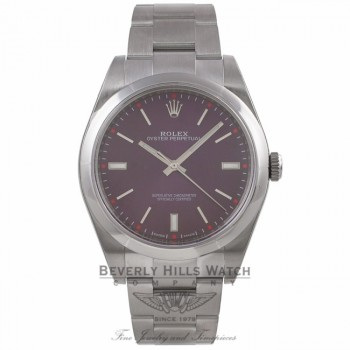 Rolex Oyster Perpetual 39mm Stainless Steel Red Grape Dial Index Markings Bracelet 114300 F13KJX - Beverly Hills Watch Company