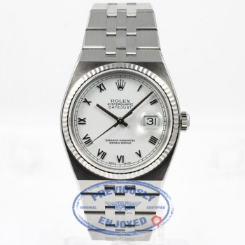 Rolex OysterQuartz 36mm Stainless Steel Bracelet Fluted Bezel White Roman Dial Watch 17014A Beverly Hills Watch Store