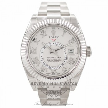 Rolex Sky-Dweller 18k White Gold Bidirectional Rotatable Ring Command Bezel 326939 3788A1 - Beverly Hills Watch Company Watch Store