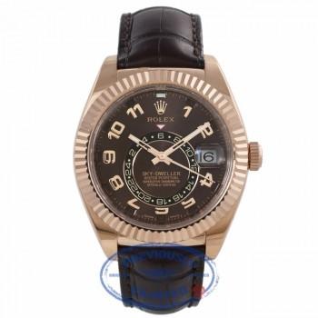 Rolex Sky-Dweller 18K Everose 42mm Leather Strap Deployment Buckle Annual Calendar GMT 326135 7YUUEU - Beverly Hills Watch Company