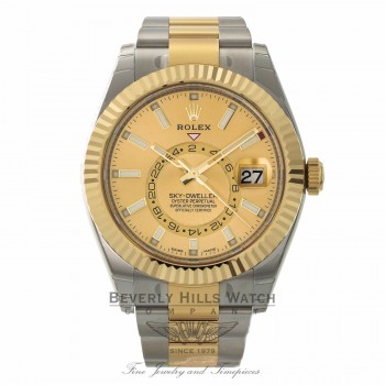 Rolex Sky-Dweller Oyster Perpetual Champagne Dial Automatic 42mm Stainless Steel Yellow Gold 326933 7CFN6U - Beverly Hills Watch