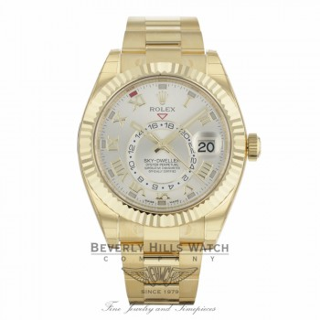 Rolex Sky-Dweller Yellow Gold 42mm Dual Time Annual Calendar Silver Dial 326938 8WJJQV - Beverly Hills Watch Company