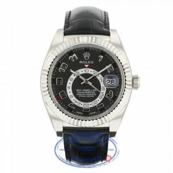 Rolex Sky Dweller Black Dial 18k White Gold Fluted Bezel Black Leather Strap 326139 TWVAC7 - Beverly Hills Watch Company