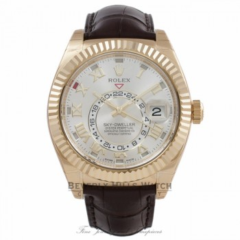 Rolex Sky Dweller Silver Dial 18k Yellow Gold Brown Leather Strap 326138 JRAPV7 - Beverly Hills Watch Company Watch Store