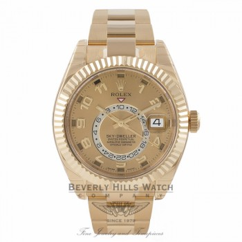 Rolex Sky-Dweller Yellow Gold Dual Time Annual Calendar Champagne Dial 326938 2L7FFE - Beverly Hills Watch Store