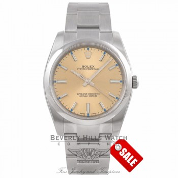 Rolex Oyster Perpetual 34mm Stainless Steel Champagne Dial Index Markings Bracelet 114200 41P22Q - Beverly Hills Watch Company Watch Store