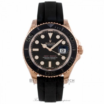 Rolex Yacht-Master 37mm Everose Black Dial Rubber Strap 268655 - Beverly Hills Watch Company