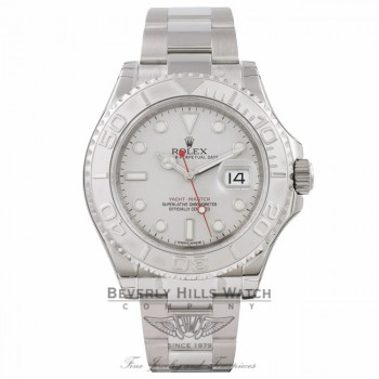 Rolex Yachtmaster 40mm Stainless Steel Oyster Bracelet 'New Clasp' Platinum Bezel and Dial Watch 116622 Watch Store Beverly Hills