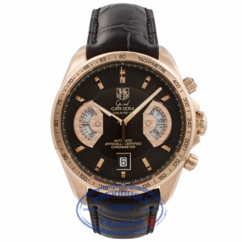 Tag Heuer Grand Carrera 18k Rose Gold Bronze Dial Chronograph 18k Rose Gold Buckle CAV5140 ZYRNYB - Beverly Hills Watch Company Watch Store