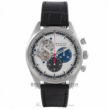 Zenith El Primero Chronomaster 1969 42MM Stainless Steel Silver Dial Black Alligator Strap 0320404061.69C A934LQ - Beverly Hills Watch Store