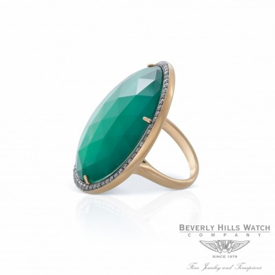 18K Rose Gold Green Agate Silver Diamond Ring with White Quartz Naira & C ZCJ51D - Beverly Hills Watch