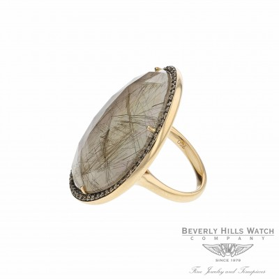 18K Rose Gold Mother of Pearl Brown Rutilated Quartz Brown Diamond Ring Naira & C QEXMLI - Beverly Hills Watch