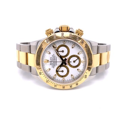 Rolex Daytona Yellow Gold Stainless Steel White Dial 116523 6WY451 - Beverly Hills Watch Company