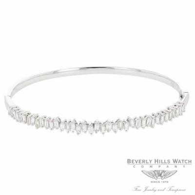 Naira & C Diamond Baguette Bangle Bracelet White Gold LDD3MZ - Beverly Hills Watch Company