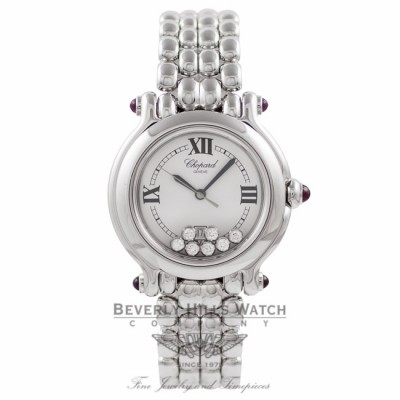 Chopard Happy Sport Medium Ladies 18k White Gold 7 Floating Diamonds White Dial 27/6137-21W BMGUK3 - Beverly Hills Watch Company Watch Store