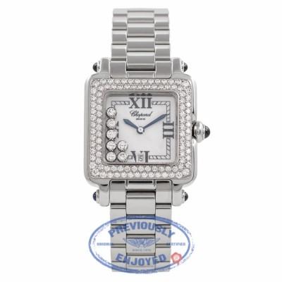 Chopard Happy Sport Square Medium Stainless Steel 18K White Gold Diamond Bezel 27/8361-23 VA2Y3R - Beverly Hills Watch Company Watch Store
