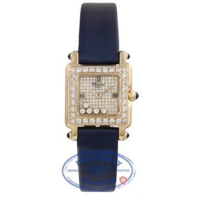Chopard Happy Sport Square 18K Yellow Gold Diamond 27/6850-23/1 I6IQ3U - Beverly Hills Watch Store