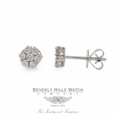 Stud Earrings 18k White Gold Diamond Rosette 37387B QTX8AN - Beverly Hills Watch Store