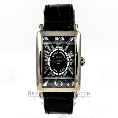 Franck Muller Long Island 18K White Gold Black Dial Ladies Medium Watch 952QZ Beverly Hills Watch Company Watches