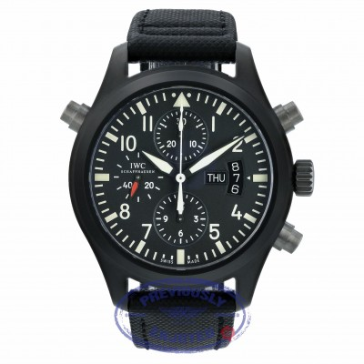 IWC Pilot's Double Chronograph Limited Edition Ceramic Black Dial Black Kevlar Strap IW378601 WMLPP7 - Beverly Hills Watch Store